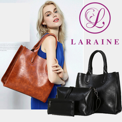 LARAINE 3Pcs/Sets Women Handbags Leather Shoulder Bags black one size