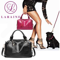 LARAINE Brand Boston Cow Leather Handbags for Ladies black one size