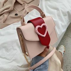 New Colour-Coloured Love Summer Slant Chain Bag Small Fresh Single Shoulder Square Bag one size black