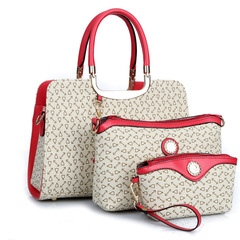 Three sets of European and American fashionable handbags with shoulder slanting ladies'bags white one size