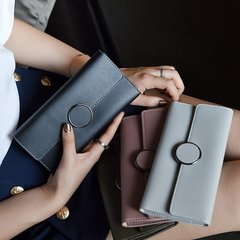 LARAINE Wallets for Ladies Leather Rectangle Pure color gray one size