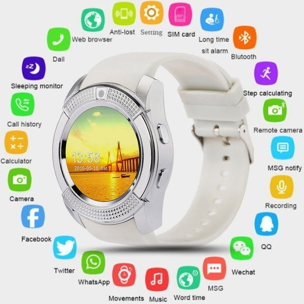Smart Watch Clock With Sim TF Card Slot Bluetooth Connectivity for Android Smartphones white
