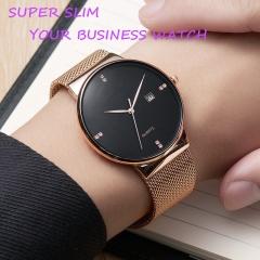 Super slim diamond business man quartz mesh belt watch sport watch waterproof business watch luxury black