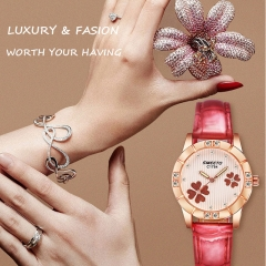 Women Fashion Watches Leather Clover Quartz Watch Ladies Waterproof Casual Wristwatches 1 gold&red