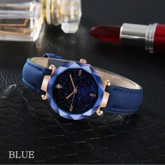 Women Fashion Watches Leather Starry Sky Series Quartz Watch Ladies Waterproof Casual Wristwatches blue
