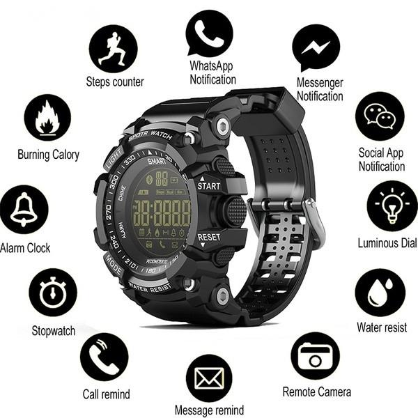 EX16 Smart Watch Notification Remote Control Pedometer Sport Watch IP67  Waterproof Men's Wristwatch black