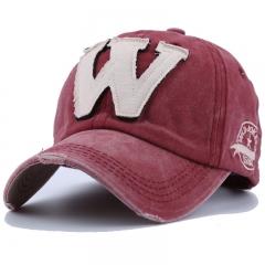 W Character Men Baseball Caps Dad Casquette Snap Back Hats Sport Hat Letter Washed Cotton Cap