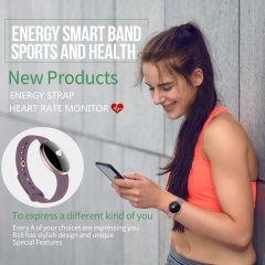 New B16 Fashion Women Smart Watch with Fitness Heart Rate Monitor Energy Strap blue