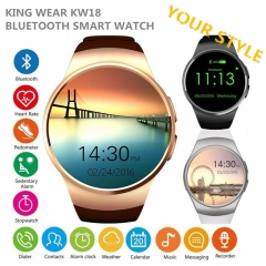 KW18 Bluetooth Smart Watch Round Wristwatch 1.3 Inch Pedometer Heart Rate Monitor for Android IOS black