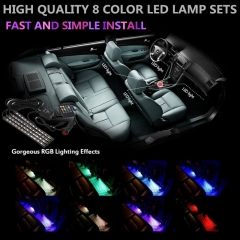 4 Pcs/set Multi Color LED Car Interior Lighting Kit Atmosphere Light Neon Lamp with Wireless Control