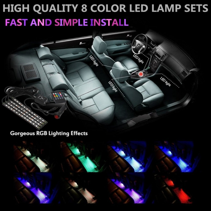 4 Pcs Set Multi Color Led Car Interior Lighting Kit Atmosphere Light Neon Lamp With Wireless Control