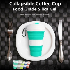Three Size Adjustable Collapsible Coffee Cup Silicone Camping Folding Sport Water Bottle Travel Cup green one size