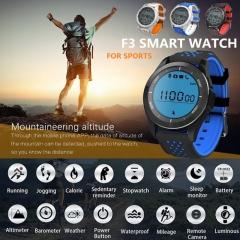 F3 Smart Watch IP68 Waterproof Call Reminder Hiking Sports bracelet Fitness Tracker black/blue