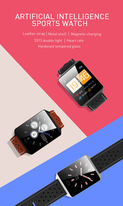 CK19 Real Leather Strap Smart Watch Phone Artificial Intelligence Android/IOS Smartphones black