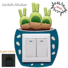 2 PCS  Luminous Switch Wall Paste Cactus Switch Patch Cartoon Style Switch Sticker random one size
