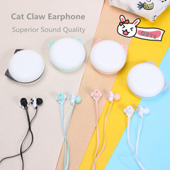 Wired Cute Cat Claw Earphone Mobile Phone Earpiece Earphones with Microphone mic Headset black