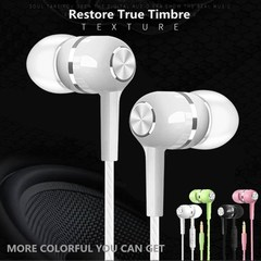 Wired High Quality Colorful Earphone Mobile Phone Earpiece Earphones with Microphone mic Headset black