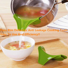 Kitchen Silicone Drain Pans Round Rim Deflector Liquid Funnel Soup Diversion Mouth Cooking Tools green one size