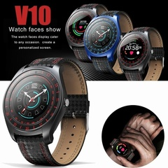 V10 Smart Watch Men with Camera Bluetooth Smartwatch Pedometer Heart Rate Monitor Smart Phone black