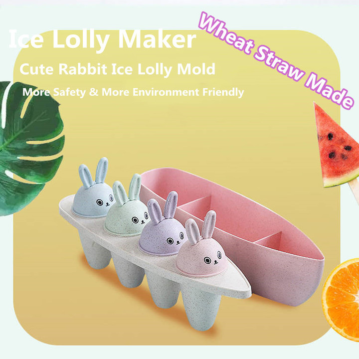 Cute Rabbit Wheat Straw DIY Ice Lolly Mold Ice Cream Ice Lattice Popsicle Combination Mold Ice Maker as pic one size