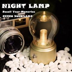 New Creative Retro Bulb Lamp Rechargeable Lamp Table Lamp LED Desk Lamp Night Light USB Camping Lamp black as pic as pic