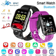 116 PLUS Smart Watch Heart Rate Blood Pressure Monitoring Fitness Tracker Smart Bracelet Smart Band blue