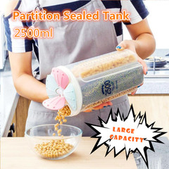 2.5L Partition Kitchen Food Storage Container Plastic Cereal Grain Rice Holder Bean Box Sealed Tank