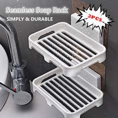 3 PCS Seamless Bathroom Wall-mounted Soap Dish Soap Box Soap Dish Bathroom Soap Rack Kitchen Tool white one size
