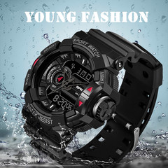 Luminous Male Double Display Sport Watches Quartz & Led Watch Waterproof Military Business Watch black