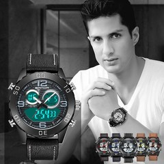 Fashion Double Display Night Light Leather Belt Quartz Watch Fashion Male Watch Men Watched Watches blue