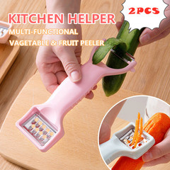 2 PCS Multifunctional Kitchen Cooking Tools Gadgets Helper Fruit Peeler Parer Cutter Slicer Apricot one size