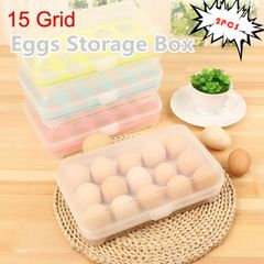 New Style 2 PCS 15 Eggs Refrigerator Eggs Storage Box Food Storage Container Case (Color In Radom) random one size