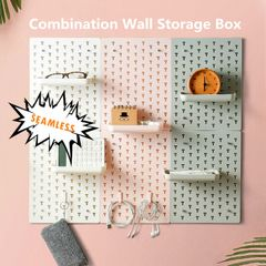 Nordic Style Free Combination Wall Storage Box Rack Self Adhesive Bathroom Kitchen Organizer grey one size