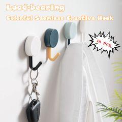 10 PCS Color Creative Kitchen Bathroom Load-bearing Glue Seamless Creative Hook 1 10 pcs