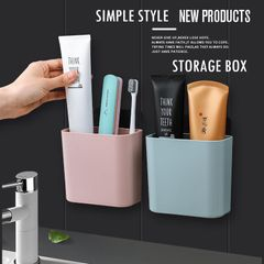 Toothbrush & Toothpaste Skin Care Products Storage Box Waterproof Seamless Wall-mounted Storage Box white one size