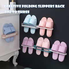 Folding Slippers Rack Bathroom Hanging Shoes Storage Rack Wall Hanging Folding Shoe Rack pink one size