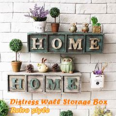 Creative Classical Ratro Style Distress Wall Storage Box green one size