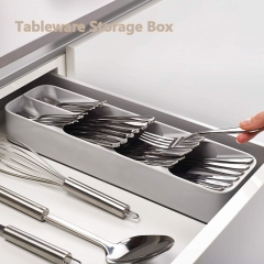 Kitchen Drawer Storage Box Tray Compartment Storage Consolidation Box Drawer Tableware Storage Box grey one size