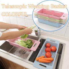 Colorful Vegetable Fruit Portable Food Basket Telescopic Draining Racks Sink Draining Basket beige one size