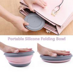 Silicone Folding Lunch Box Folding Bowl Portable Silicone Folding Bowl Foldable Salad Bowl pink small