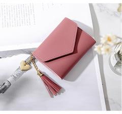 Ladies Fashion Wallets Students PU Leather Triple Folding Short Wallet Womens Money Pocket Purse dark pink 11*9*2cm