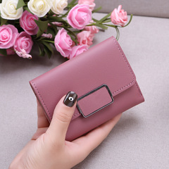 New Promotion Ladies Wallets Simple Fashion Students PU Leather Triple Folding Short Wallet Purse dark pink 11.5*9*1.5