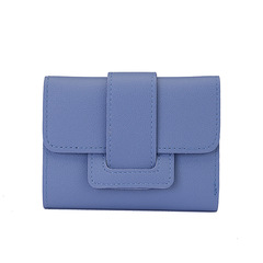 Ladies Elegant Simple Fashion Small Purse Lovely Mini Folding Short Wallet Clutch Bag Woments Wallet blue one size