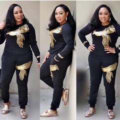2019 New Spring Womens Plus Size High Elasticity Shirt Trousers Quality Cotton Knit Suit Wear black m