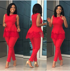 2019 New Womens Plus Size Suit Fashion Lace Waistcoat With Trousers Sexy Tight Off Shoulder Tops red m