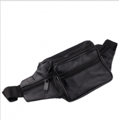 Fashion personality men's outdoor sports and leisure cowhide  waist packs black 30*14cm