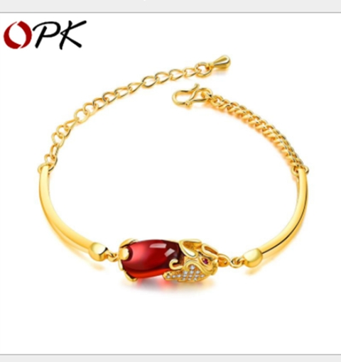 Bridal Marriage Accessories Copper Plated 18k Sand Gold Set Ruby