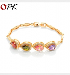 Colorful peach heart micro-set 3A zircon ladies bracelet gold 18cm