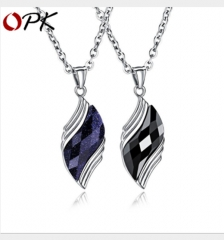 Stainless steel personality blue sandstone men's necklace pendant black diamond 51cm