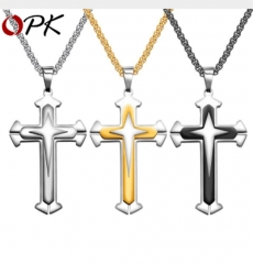 New necklace three-layer cross domineering men's jewelry retro titanium steel pendant gold 3*55cm